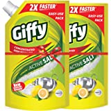 Giffy Lemon & Active Salt Concentrated Dish Wash Gel by Wipro, 900ml (Pack of 2)