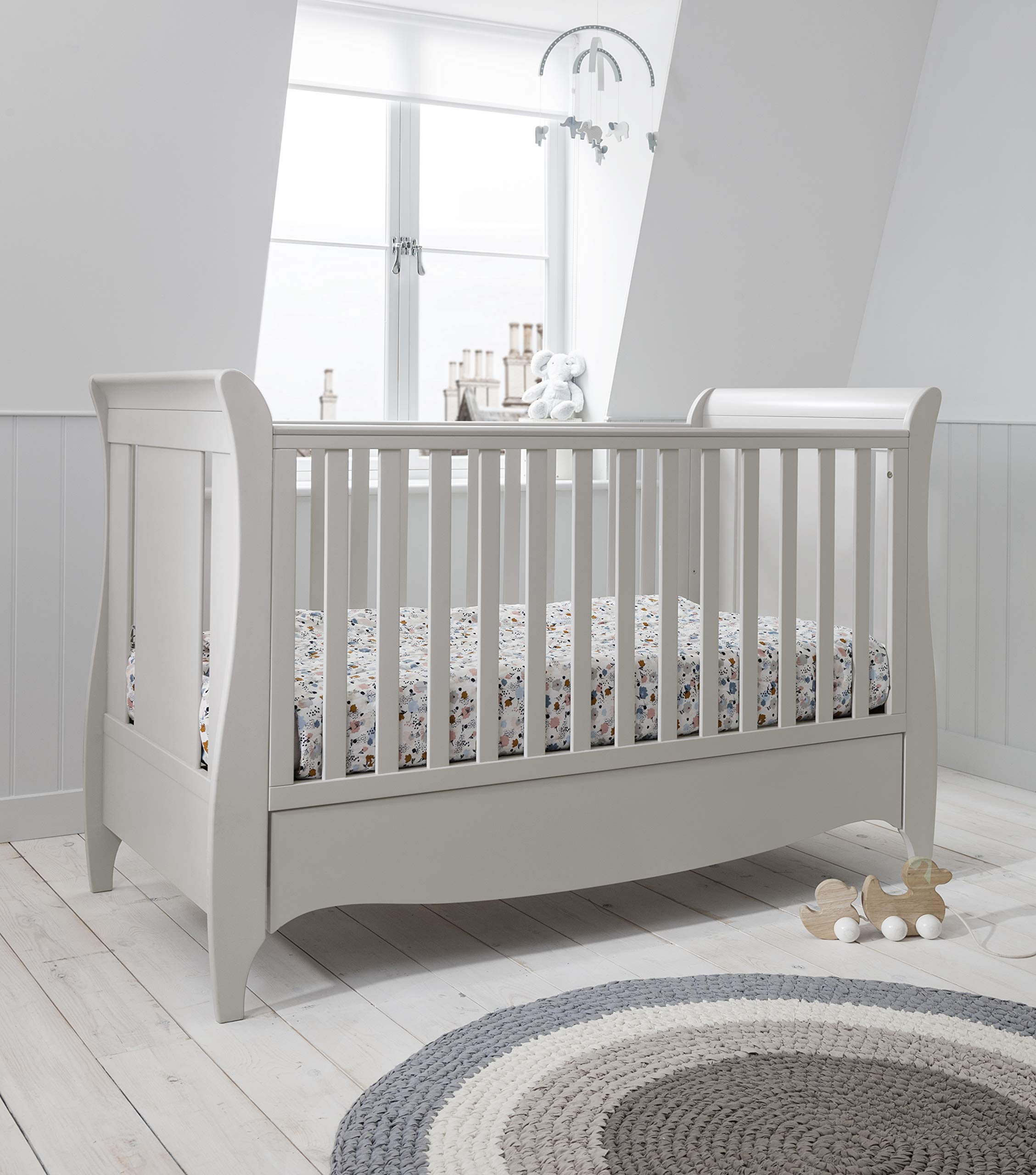 Tutti Bambini Roma Wooden Sleigh Cot Bed - with Under Bed Drawer, Additional Foam Mattress - Linen