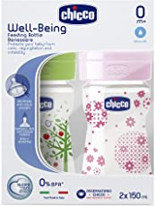 Chicco 150ml Bipack Well Being Feeding Bottle (Pink/Green)