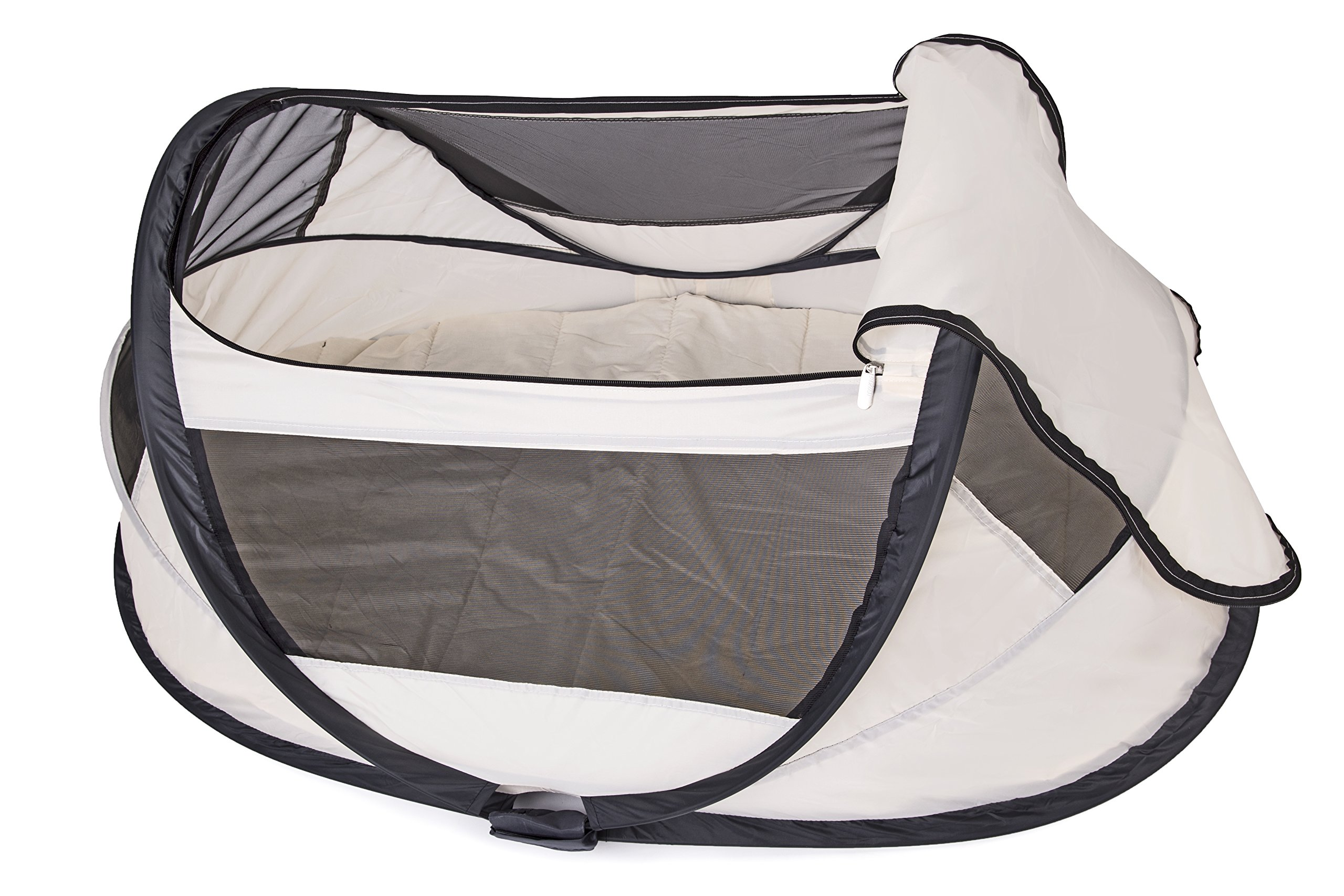 Travel Cot Babybox (Khaki) Deryan 50% UV Protection and flame retardant fabric Setup in 2 seconds and a anti-musquito net  3