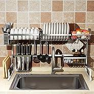 Dish Drying Rack Over Sink, Drainer Shelf for Kitchen Supplies Storage Counter Organizer Utensils Holder Stainless Steel Disp