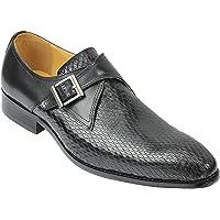 Mens Black Real Leather Snakeskin Print Loafers Retro Vintage Smart Formal Dress Monk Shoes