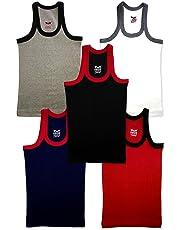 HAP Kings Boys Multicolour Rib Vest Pack (Pack of 5)