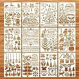 Pochoirs de Noël, 16 pièces Pochoirs de Noël Pochoirs à dessin Pochoirs de peinture en plastique, pochoirs réutilisables pour