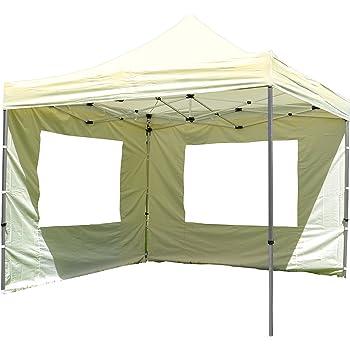 Nexos Hochwertiger Falt-Pavillon Partyzelt mit 2 Seitenteilen PROFI Ausführung für Garten Terrasse Feier Markt als Unterstand Plane wasserdichtes Dach 3 x 3 m champagner