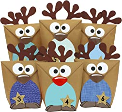 Papierdrachen DIY Adventskalender Set Rentiere zum Befüllen - mit roten Bäuchen zum selber Basteln - mit 24 Tüten zum individuellen Gestalten und zum selber Füllen - Weihnachten 2018