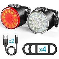 Set di luci bicicletta, luce anteriore e fanale posteriore ricaricabile USB, luce per bicicletta a LED impermeabile IPX4…