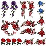 LEMESO 18 Pezzi Toppe Fiori Rose, Applique e Patch Decorative Applicabili Cucito, Carine per Tessuti, Vestiti, Giacche, Jeans