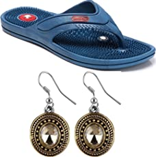 Box On Magic Combo Unisex Acupressure Slippers Sandals For Pain Relief & Total Health Care + One Pair Ear Ring Set (SD-07-BLUE)