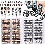 EBANKU 20 Rolls Halloween Nail Folie Transfer Stickers, Holographic Nail Folie Stickers Transfer Nail Art Tips Warps Decals f