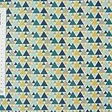 Tischdeckenstoff beschichtete Baumwolle TIGAYA Dreiecke groß und klein blau grau gelb