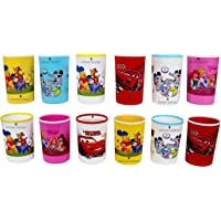 Perpetual Bliss Laxmi Collection Cartoon Print Plastic Water and Milk Glasses (Multicolour, Medium)-Pack of 12