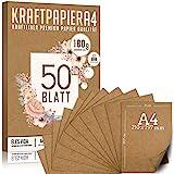 Ensemble de papiers kraft de qualité supérieure - DIN A4-180g - 21x29,7cm - Papier d'artisanat et carton naturel Feuilles de