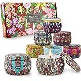 Bougies Parfumées, Bougies Deco 8*5.65Oz Cire de soja 100%, Coffret Cadeau Femme, Cadeau Fete des Peres,Cadeau maitresse d'éc