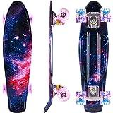 Caroma Skateboard per Bambino Ragazza Ragazzi, Mini Cruiser Skateboard Completo da 22 Pollici con Ruote Illuminate a LED per