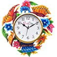 eCraftIndia Analog Wall Clock(Pink, Blue & Green, with Glass)