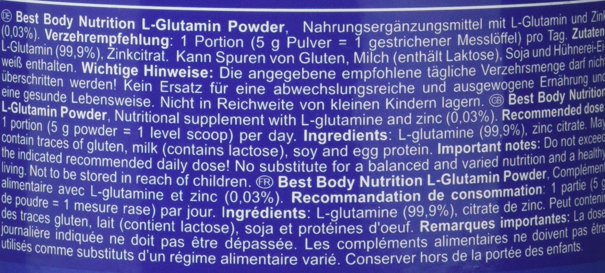 81706PKSOIL - Best Body Nutrition Amino Acids L-Glutamine Powder - 250g, 250g