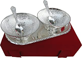 Rajasthan Emporium And Handicrafts German Silver Bowl, Spoon And Tray Gift Set