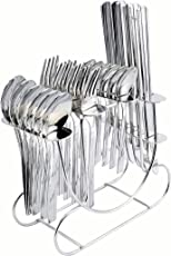 Shapes Stainless Steel Koko New Sigma Cutlery Set of Spoons and Fork with Stand, 24 Pieces, 5.5 Inches (Silver, KK/NS/24DK)