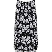 WearAll Plus Size Womens Printed Pattern Elasticated Waist Ladies Flared Skirt - 12-26