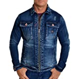 Men's Denim Jacket Large Metal Buttons Studs Distressed Dark Wash Fitted Stretchy