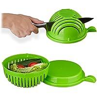 Relaxdays Taglia Insalata  Ciotola  amp  Coperchio  Senza BPA  Lavabile in Lavastoviglie  Salad Bowl  Affetta Verdure  Verde