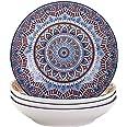 vancasso, Série Mandala, Assiette Creuse en Porcelaine 4 pièces, Assiette à Soupe Pâte, 21cm, 700ml- Style Royal Bohémien