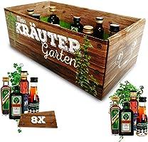 Männer-Kräutergarten | witziges Geschenk mit Alkohol | 8x Kräuter-Likör für Männer und Frauen | Jägermeister, Kümmerling...