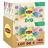 Lipton Thé Bio Coffret Découverte 160 Sachets Pyramide (Lot de 4x40 Sachets)