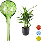 Relaxdays Bewässerungskugel 2er Set, dosierte Bewässerung Pflanzen u. Blumen, Gießhilfe Büro, Urlaub, Ø 6 cm, Glas, grün…