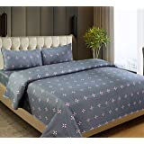 Dynamic Homes 100% Cotton Double Size Bed Bedsheet with 2 Pillow Covers (Multi Color) (Grey)