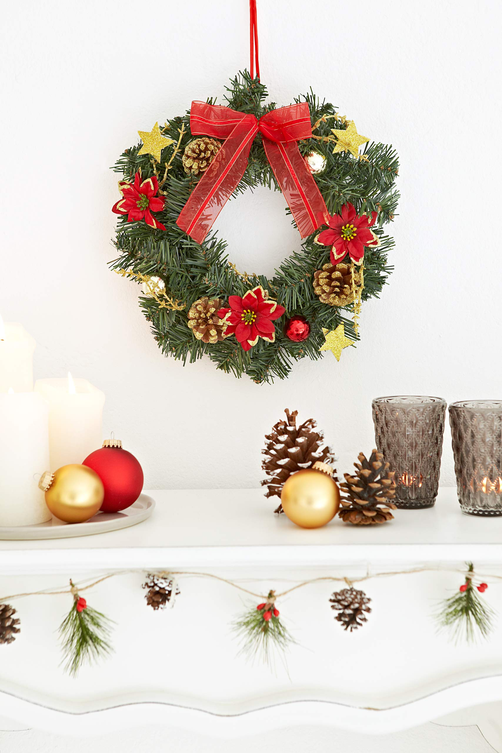 HEITMANN DECO Corona de Navidad Corona de Puerta de Navidad – Corona Decorativa de Ramas de Abeto