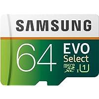 Samsung EVO Select 64 GB microSD 100MB/s, Geschwindigkeit, Full HD & 4K UHD Speicherkarte inkl. SD-Adapter für…