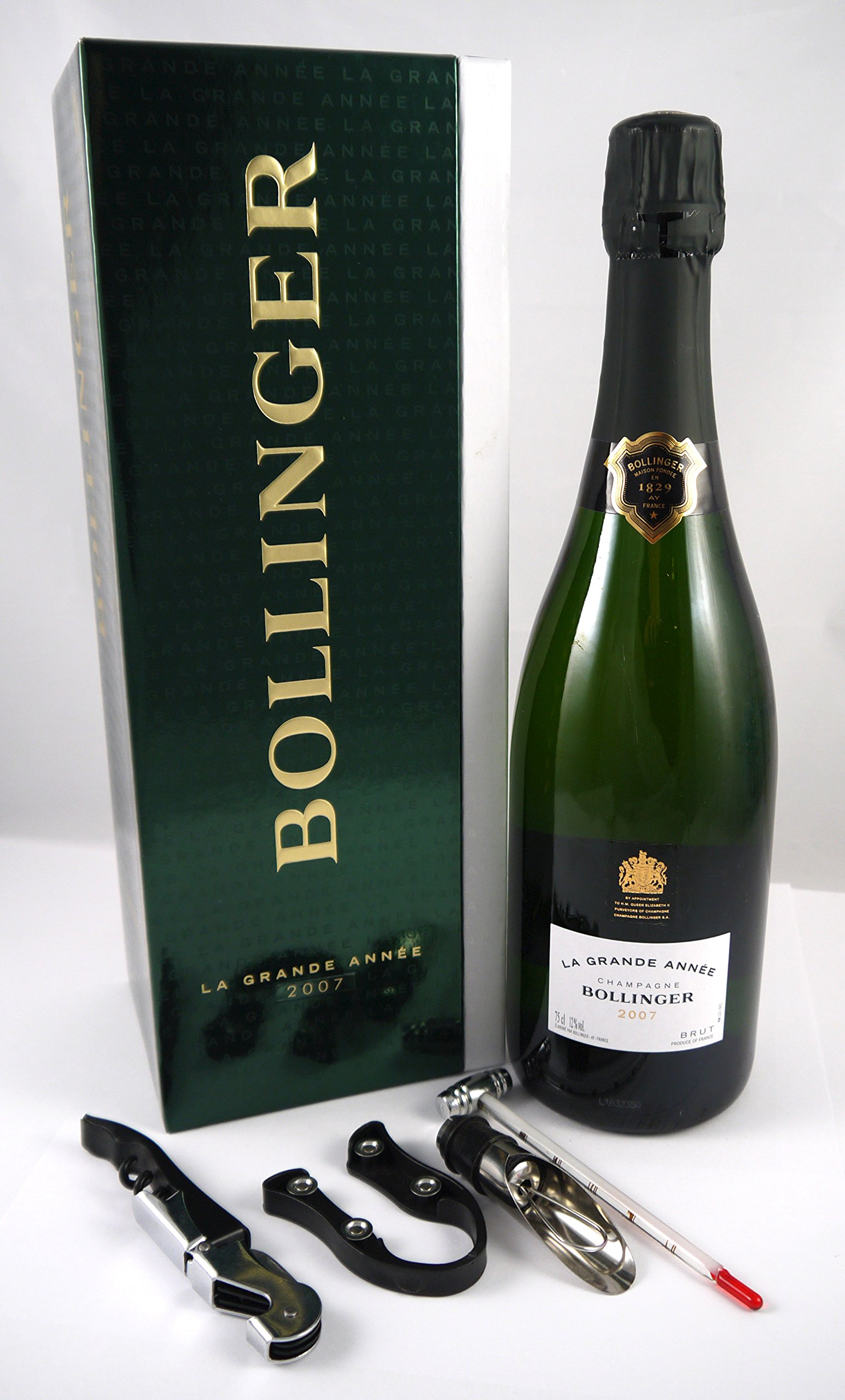 2007 Bollinger Grand Annee Vintage Champagne in its original gift box with four wine accessories.