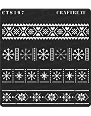 thecraftshop CrafTreat Stencil -Winter Border -Reusable Painting Template for Art and Craft, Mixed Media, Home Decor, DIY Albums, Card Making and Fabric , 6 X6 Inch