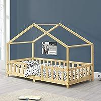 Lit d'enfant Design en Forme Maison avec Grille de Protection Construction Solide Capacité de Charge 100 kg Bois de Pin…