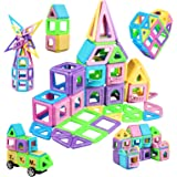 infinitoo Luminous 114 Piece Magnetic Building Blocks Castle Magnetic Toys Magnet Tiles Gift, Magnetics Construction Booklet