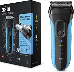 Braun Series 3 ProSkin 3010s Electric Shaver Rechargeable and Cordless Wet and Dry Electric Razor for Men Black/Blue, Multi National 2 pin plug