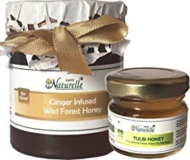 Farm Naturelle-Real Ginger Infused Forest Honey (250 GMS) and Vana Tulsi Forest Honey (40Gms) Combo-Immense Medicinal Value