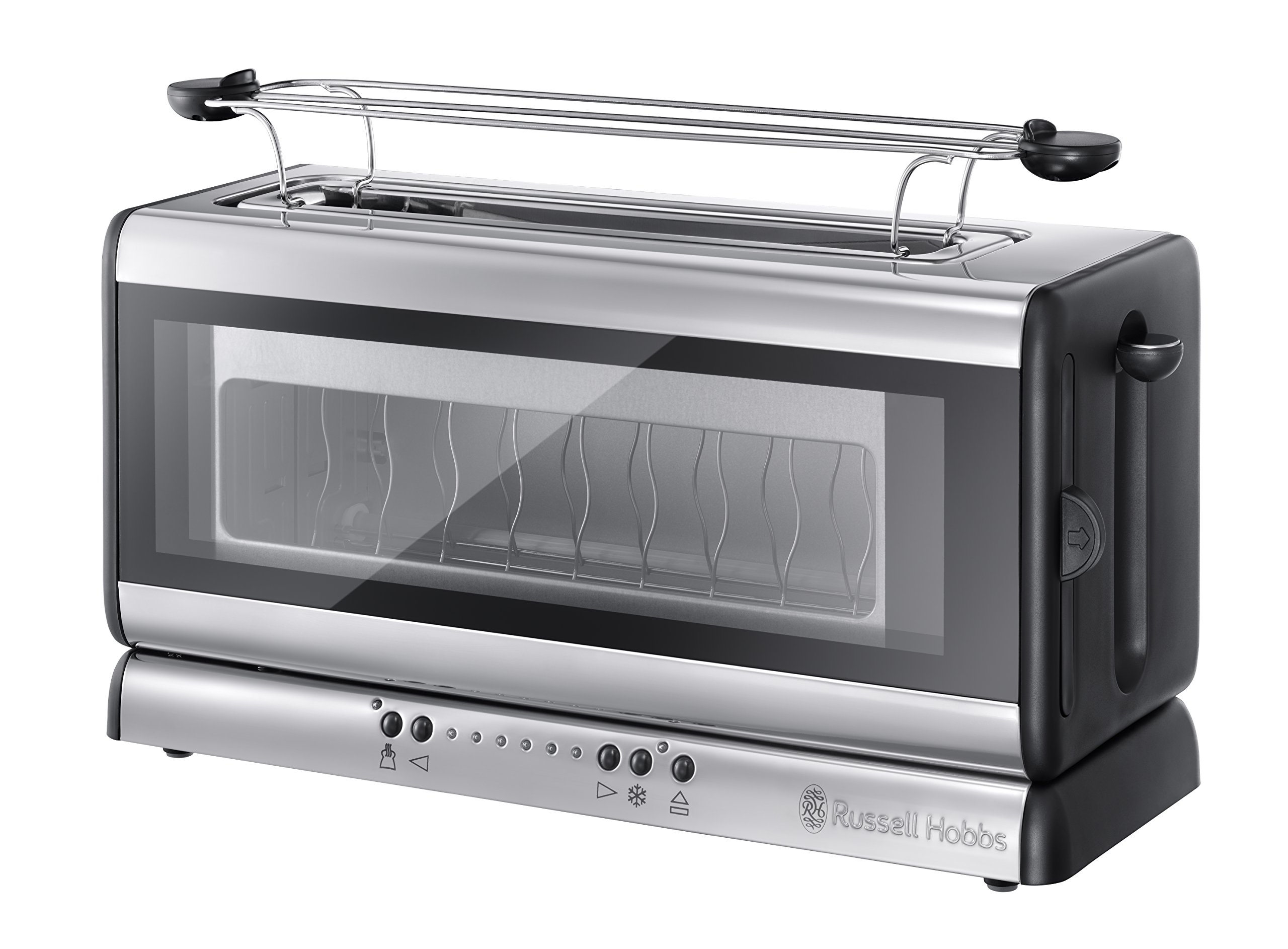 Russell-Hobbs-21310-56-Toaster-Clarity-Even-Toast-System-herausnehmbare-Glasscheibe-1200-Watt-Edelstahlschwarz