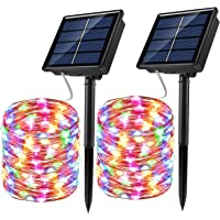 Solar String Lights, 2 Pack 100 LED Solar Fairy Lights 33 ft 8 Modes Copper Wire Lights Waterproof Outdoor String Lights…