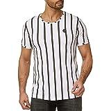 Redbridge Uomo Maglietta a Maniche Corte Strisce Designer Regular-Fit T-Shirt