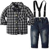 Traje Informal de otoño para bebés pequeños, Pantalones a Cuadros para niños, Pajarita, Tirantes Desmontables, Botones, 4 Pie