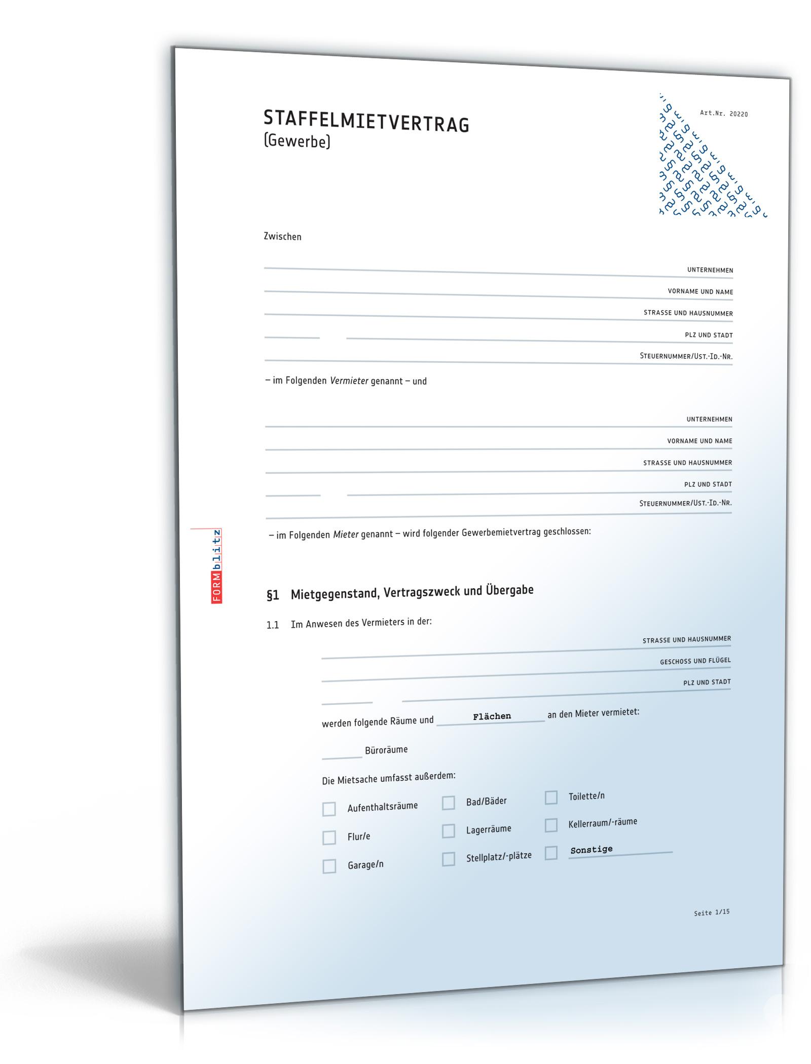 Staffelmietvertrag Gewerbe [PDF Download]