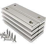 Magnetpro 8 stuks rechthoekige magneten 30 kg kracht 60 x 13,5 x 5 mm met verzonken gat en capsule, huishoudelijke en industr