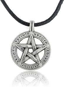 Collana da uomo con ciondolo pendente a forma di pentacolo, amuleto soprannaturale di protezione con collana in corda di pelle