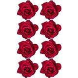 Outus 8 Pezzi Rosa Clip di Fiori Fermagli per Capelli Hairpin Fermagli di Fiori, Rosso