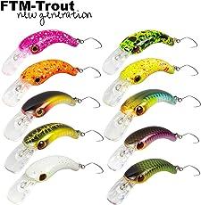 FTM Wobbler Masu 1,2g 2,9cm - Forellenwobbler Zum Spinnangeln, Miniwobbler Zum Forellenangeln, Forellenköder Zum Spinnfischen