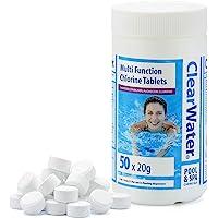 Clearwater CH0019 1 kg Multifunction Chlorine Tablets, 4-in-1 Dispenser Tablets (Sanitiser, Stabiliser, Algaecide and…
