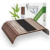 Bruin sofa dienblad van bamboe met pad | houten dienblad als kussen sofa kussen voor bank en zitmeubel plank | armleuningdien